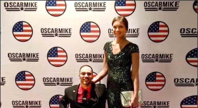 Oscar Mike CEO Noah Currier with NMEDA's Amy Schoppman